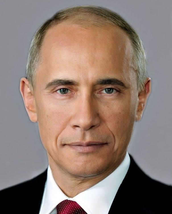 Mezcla de las caras de Putin y Obama