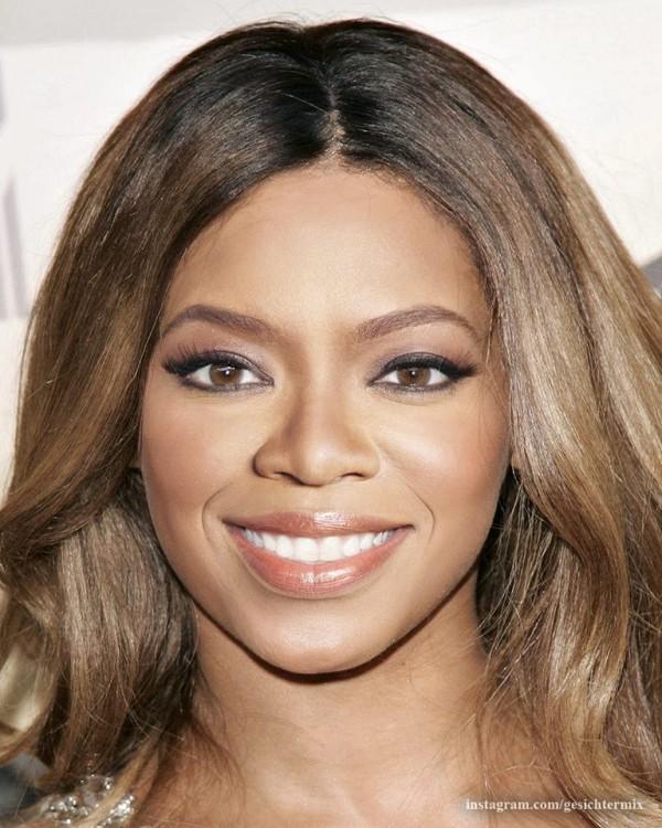 fusión de los rostros de Oprah Winfrey y Beyoncé