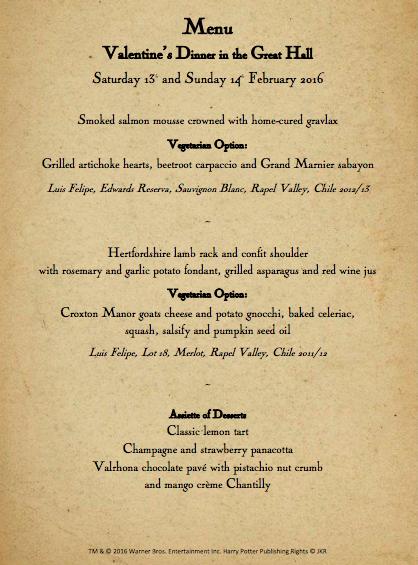 menú de la cena de San valentín en Hogwarts