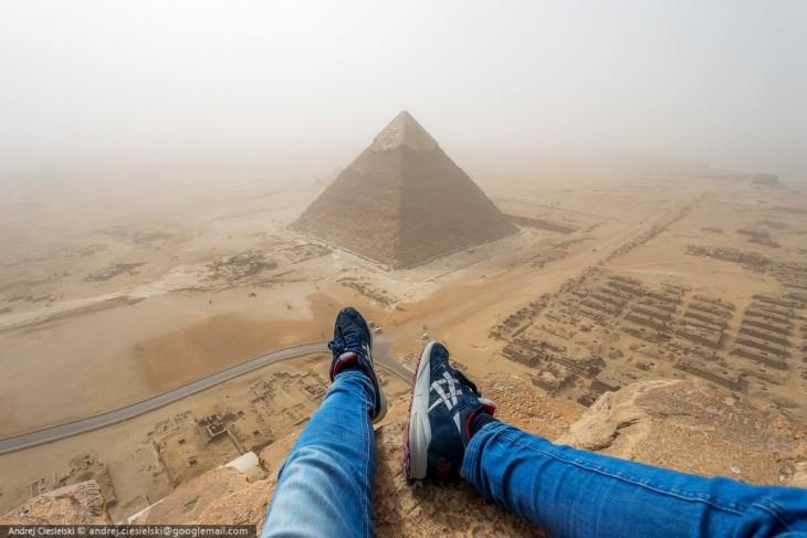 Vista desde la gran pirámide Giza, Egipto