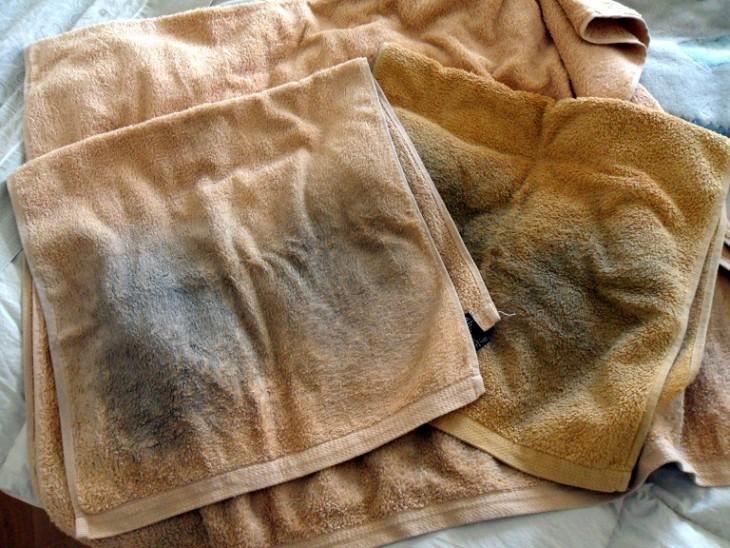 toallas sucias y viejas