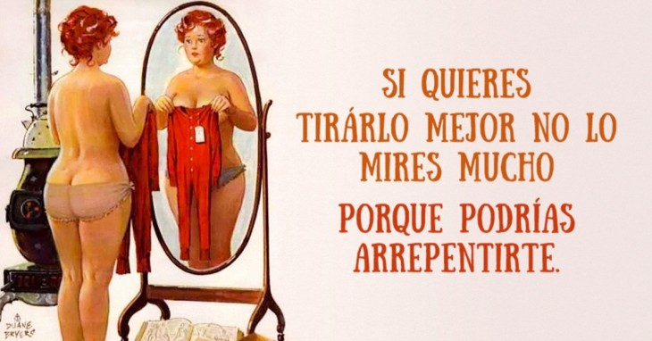 ilustración de una mujer desnuda con un pequeño traje frente a ella viéndose al espejo