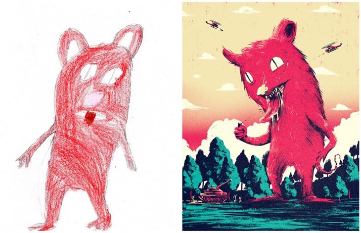 El Proyecto Monster recreo el dibujo de un monstruo rojo gigante