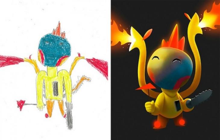 antes y después de la recreación de un monstruo lleno de lumbre