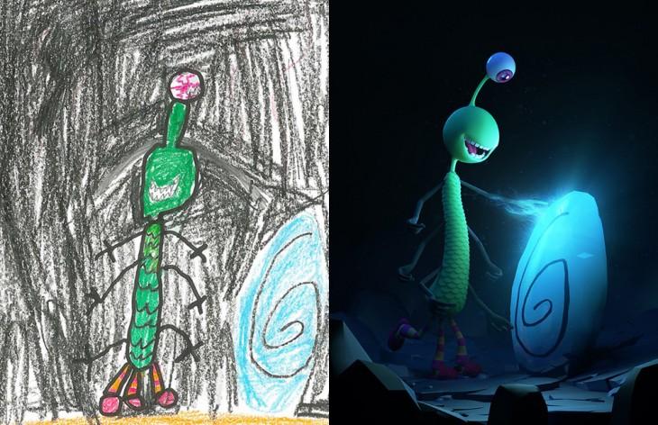 Proyecto Monster recreo el dibujo de un monstruo verde de un ojo