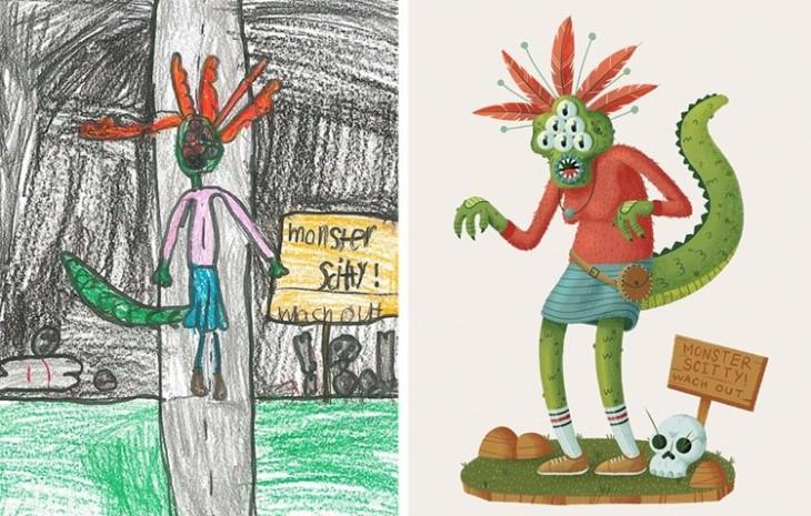 antes y después de la recreación del dibujo de un monstruo