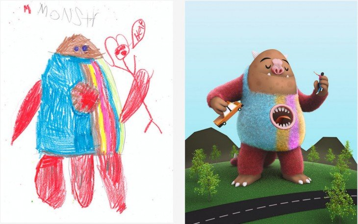 El Proyecto Monster recreo el dibujo de un monstruo con una boca en su estomago