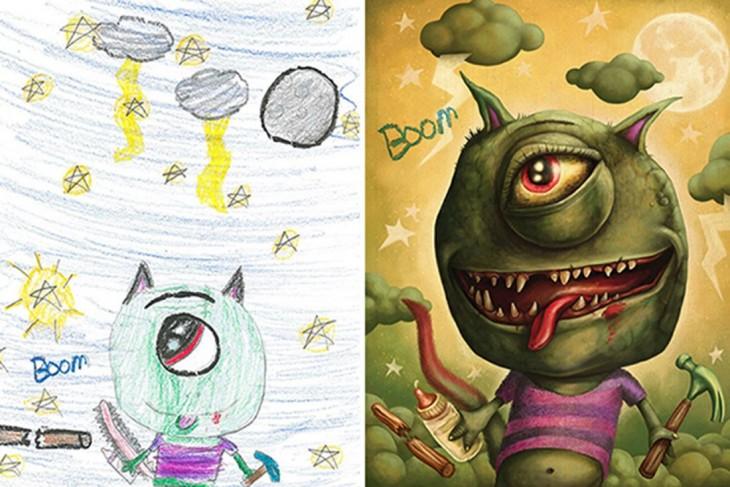 antes y después de la recreación del dibujo de un monstruo bebé