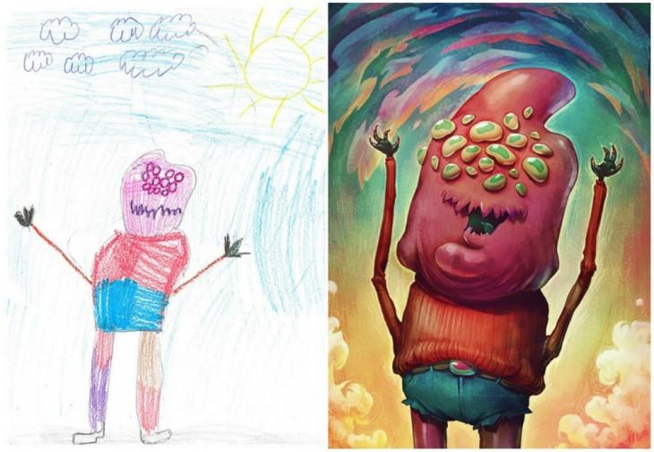 El Proyecto Monster recreo el dibujo de un gran monstruo con muchos ojos