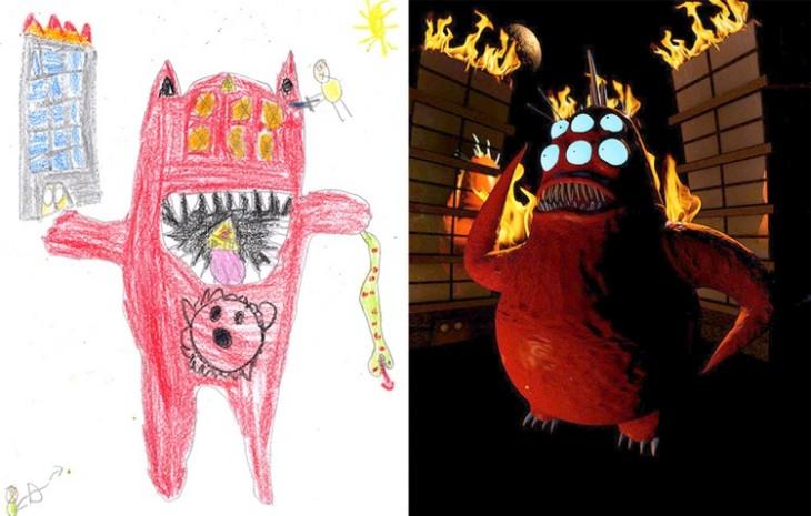 Monstruo rojo con lumbre recreado de un dibujo en papel