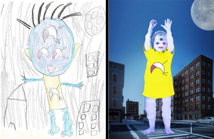recreación del dibujo de un bebe monstruo gigante