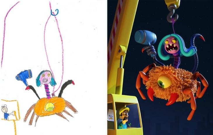 recreación de un monstruo montado sobre una araña gigante