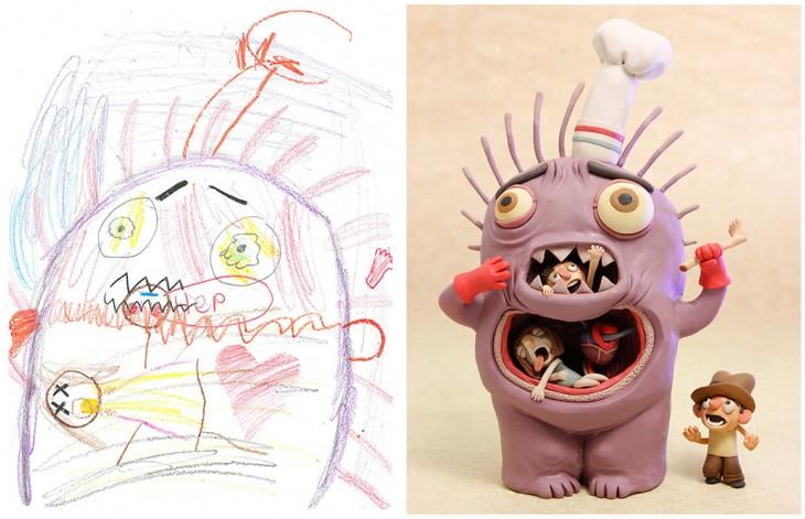 antes y después de un dibujo de monstruo recreado por el proyecto Monster