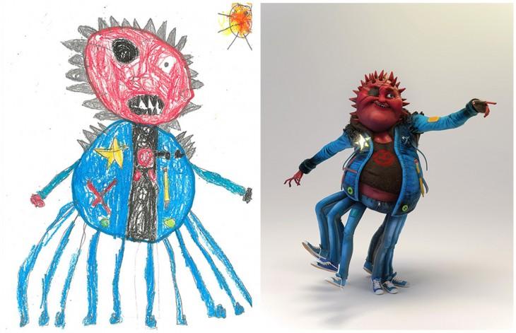 El Proyecto Monster recreo el dibujo de un monstruo con muchos brazos