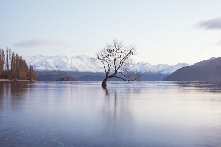 Lago Wanaka nevado en Nueva Zelanda