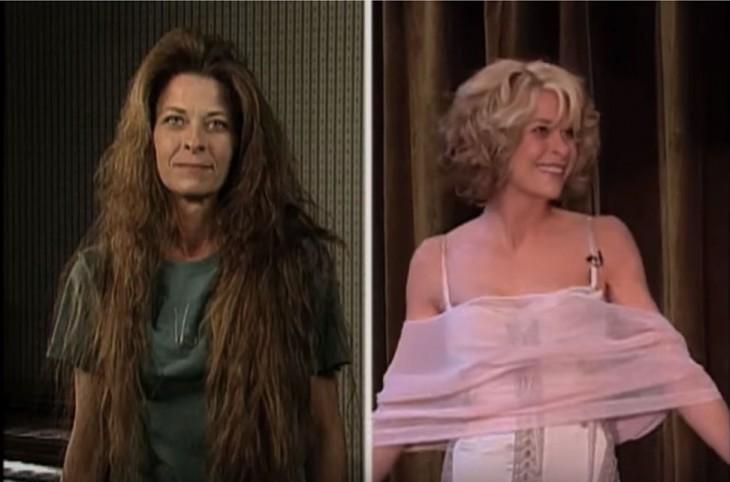 antes y después del corte de Wendy White