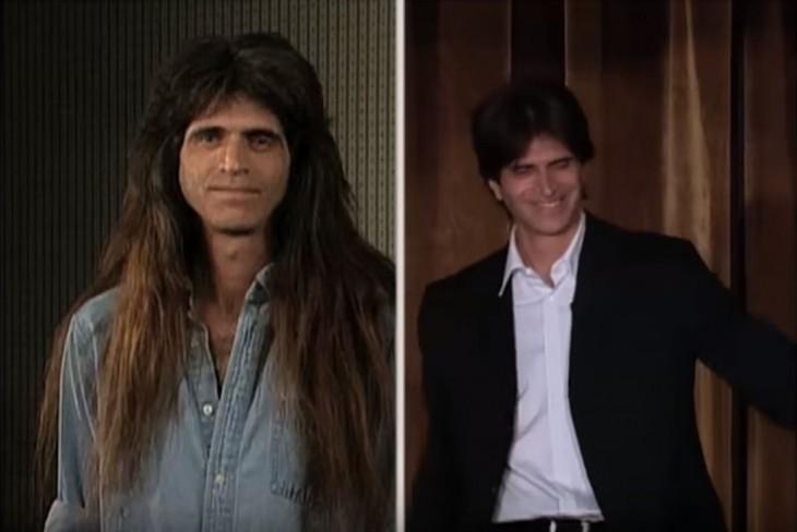 tim White antes y después de su corte