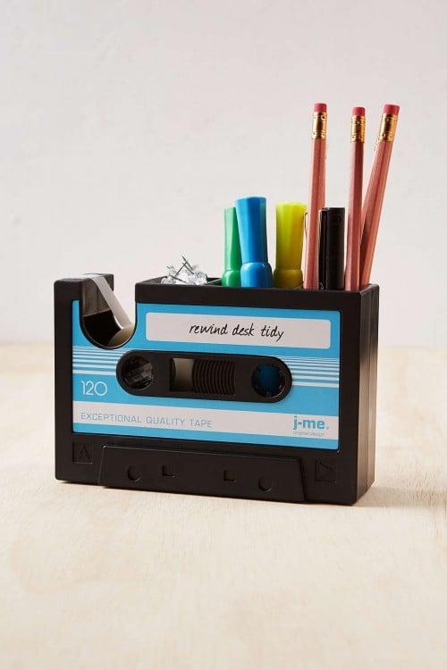 organizador de escritorio en forma de cassette