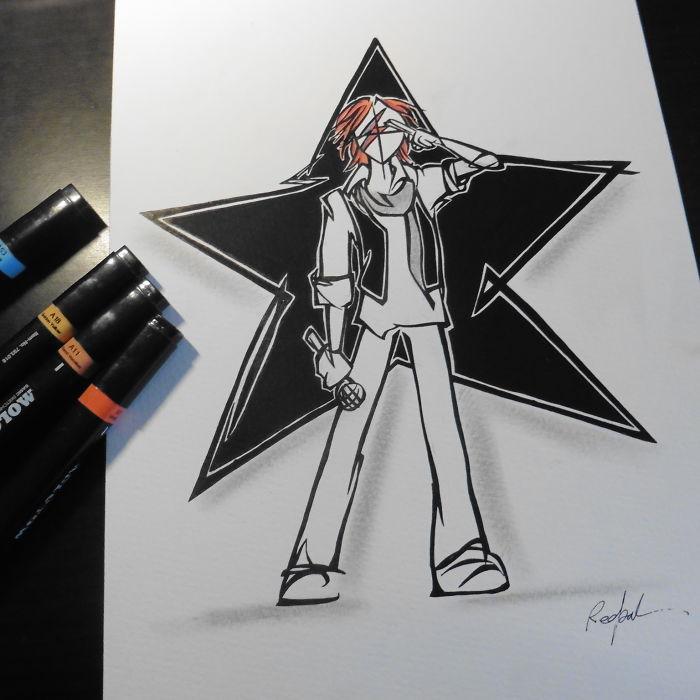 dibujo sobre homenaje a su ultimo disco