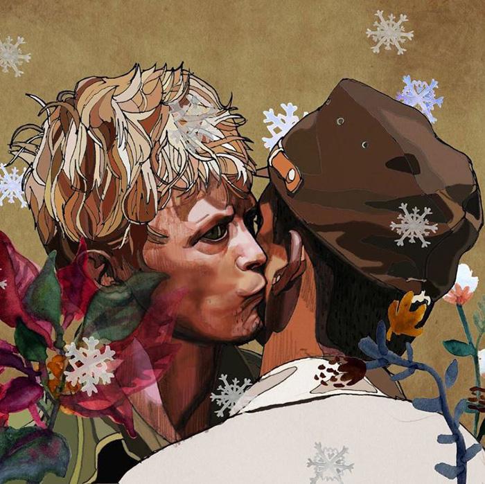 homnejae a tracés de flores en un collage