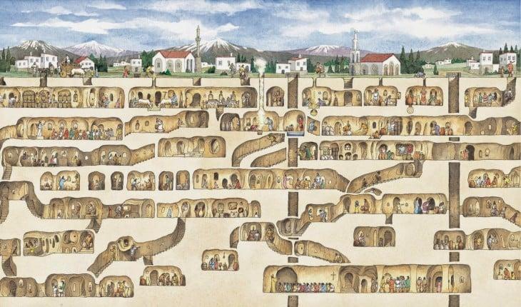 ciudad subterránea Derinkuyu en Turquía