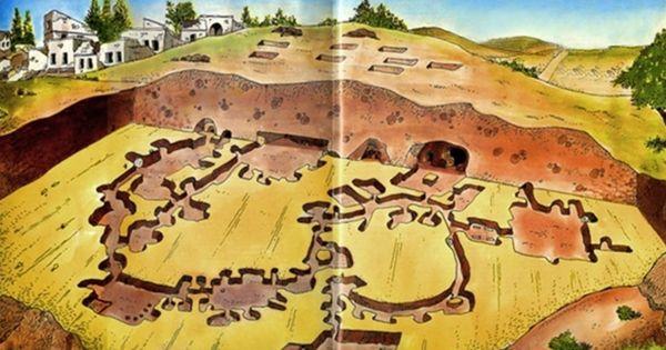 dibujo de un plano que muestra una ciudad subterránea en la provincia Nevsehir, Turquía