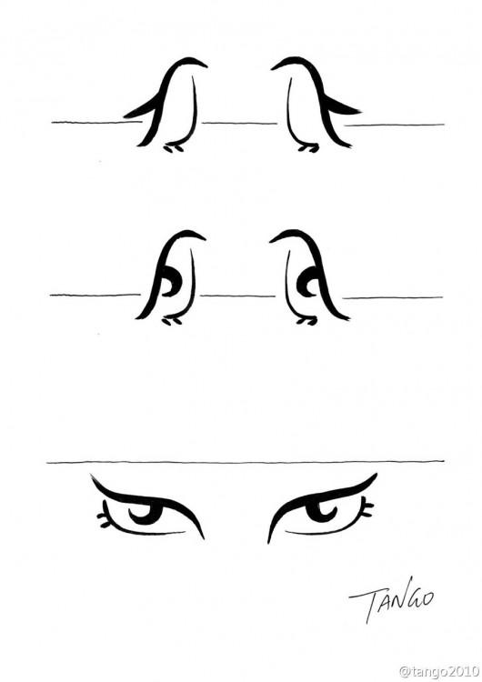Ilustración de dos pingüinos formando unos ojos