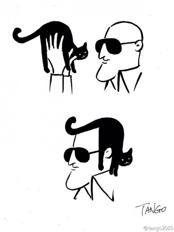 dibujo de un hombre que se pone un gato negro como cabello