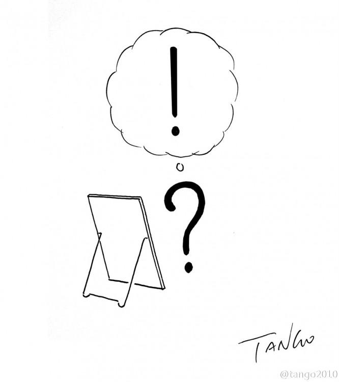 Ilustración que muestra a un signo de interrogación un poco confundido