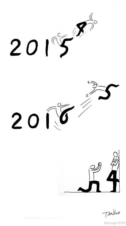 ilustración que muestra a una persona cambiando de año 2015 a 2016