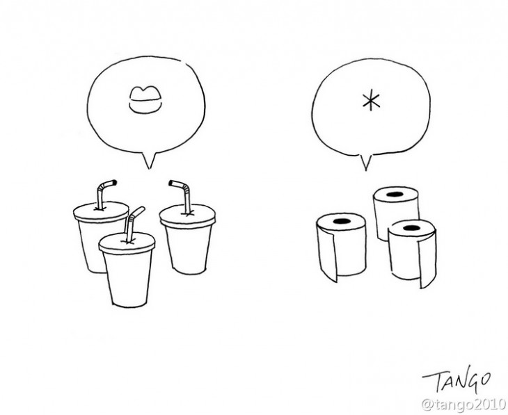 ilustración de unos vasos pensando en una boca y unos papeles de baño pensando en un *