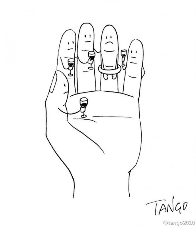 Ilustración de los dedos de una mano con caras y copas de vino en sus manos