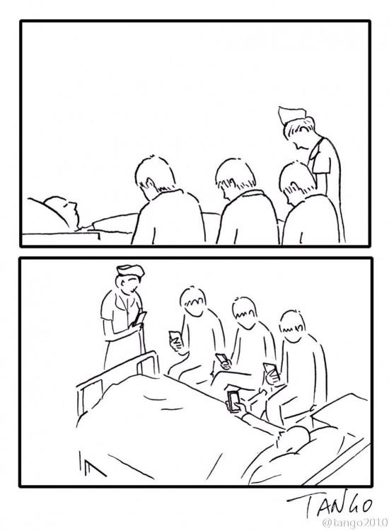 dibujo de personas con su celular alrededor de un enfermo en un hospital
