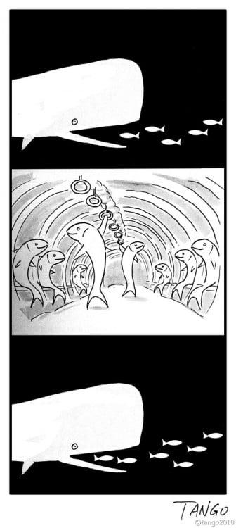 Ilustración que muestra a una ballena como medio de transporte de unos peces