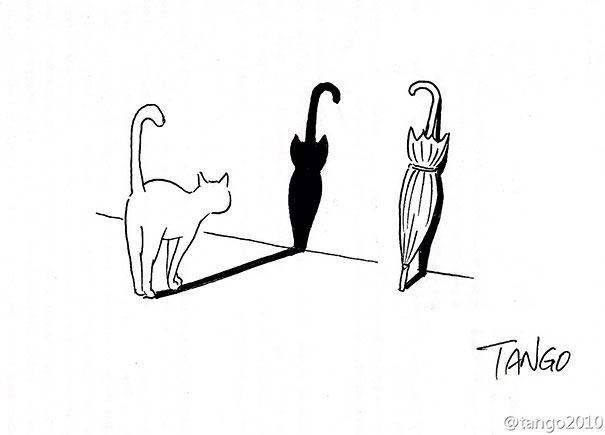 dibujo de un gato que reflejado en la pared simula ser una sombrilla