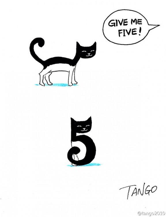Ilustración de un gato que simula ser un número 5