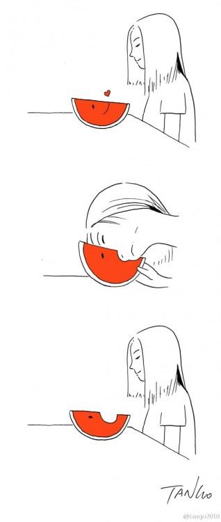 dibujo de una chica mordiendo una rebanada de Sandía