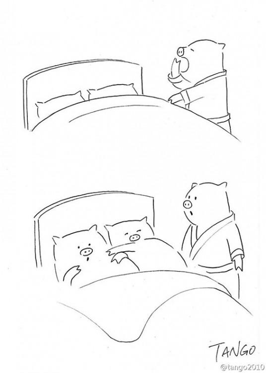 dibujo de un cerdito encontrando dos cerditos acostados en una cama