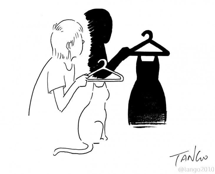 dibujo de un chico con un gato que en la sombra simula traer un vestido
