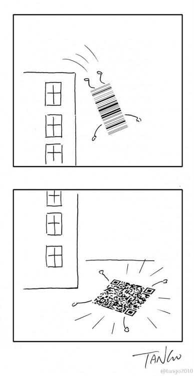 Ilustracion de un código de barras que se estrella en el suelo