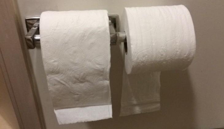 dos rollos de papel higiénico