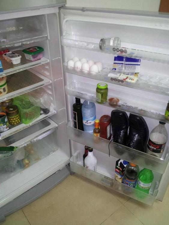 refrigerador con unos zapatos dentro en la puerta