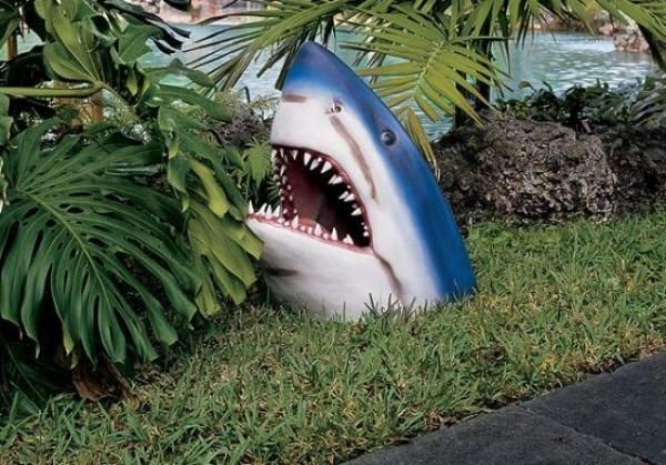 cabeza de un tiburón como adorno en un jardín