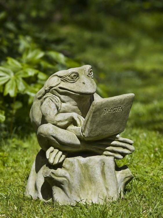 adorno para jardín en forma de rana escribiendo en una computadora