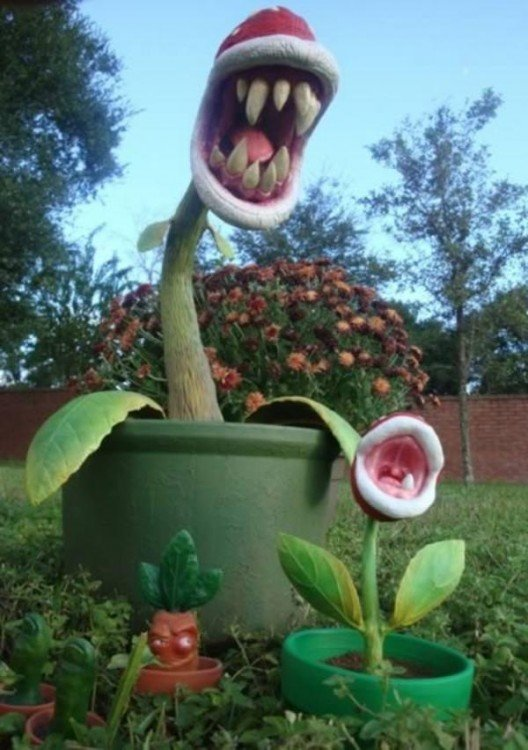 adorno para jardín de plantas carnívoras de Mario Bros