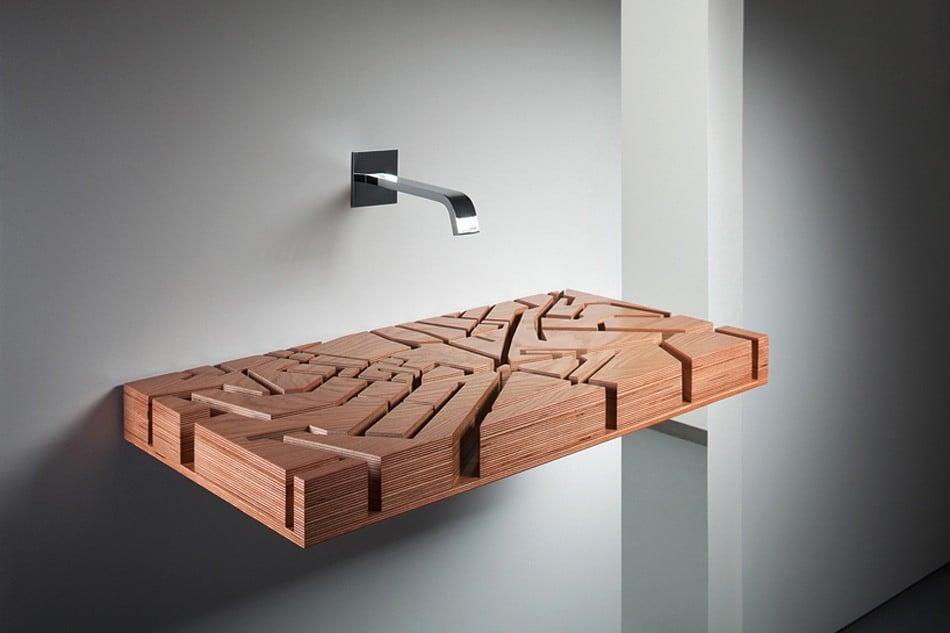 Lavabos Para Baño Modernos:lavabo de baño moderno con base de madera con diseños minimalistas
