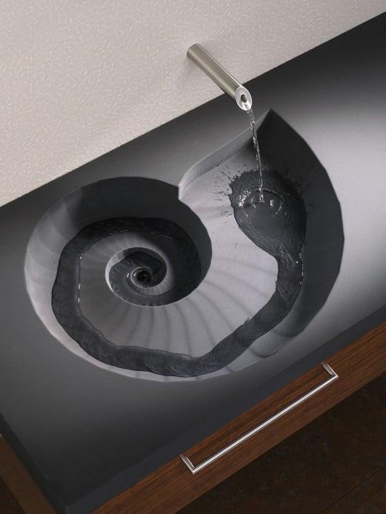 lavabo de baño en color gris con estilo en espiral o de caracol