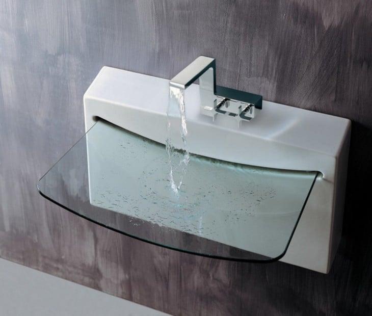 lavabo de baño con base de cristal