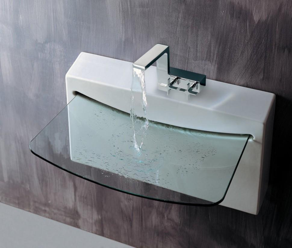 lavabo de bao con base de cristal