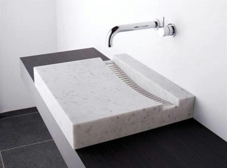 lavabo de baño en piedra mármol color blanco